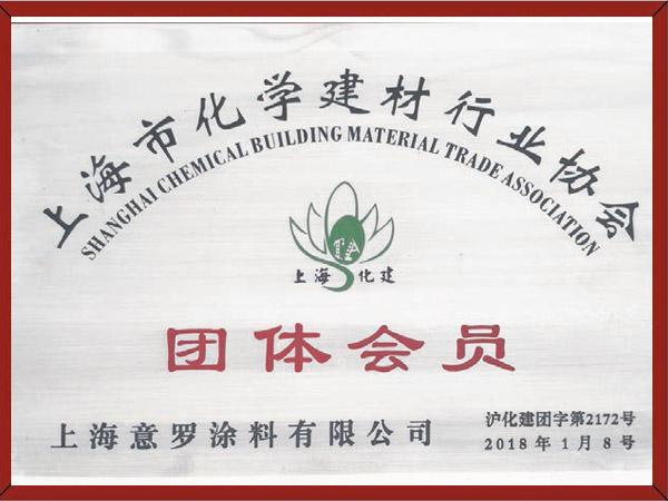 上海市化学建材行业协会团体会员证书