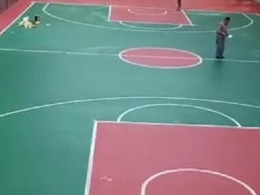 江苏徐州市800平方硅PU篮球场完工