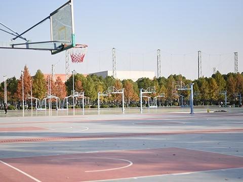 南京经贸学院硅PU球场施工现场实拍